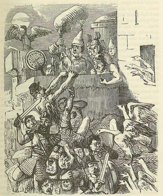 """Джон Ліч. """"Гуси, які рятують Рим"""". Малюнок 1850-х років."""
