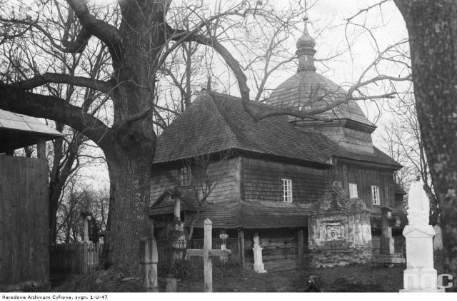 Дерев'яна церква на католицькому цвинтарі в Белзі. Фото 1920-1939 рр.