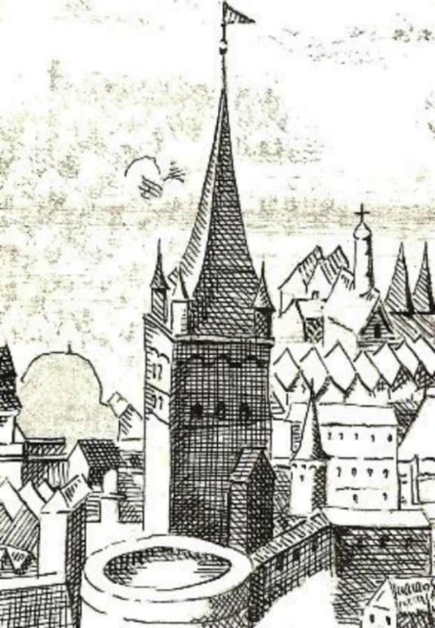 Вежа кравців на панорамі 1608 року. Фото з https://uk.wikipedia.org