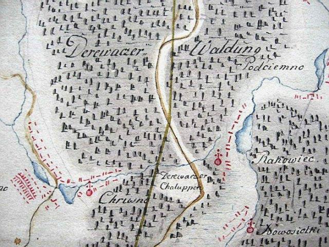 Територія лісового масиву Деревач (Derewaczer Waldung). – фрагмент карти -шкіц з колекції А. Шнайдера. Період друга половина XVIII ст.