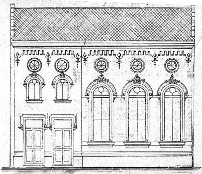Креслення фасаду синагоги «Ор Шемеш», 1903 рік