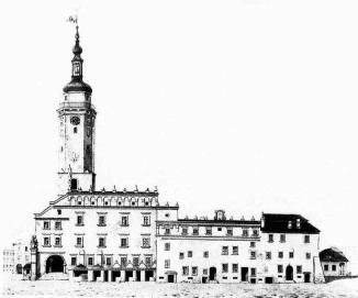 Ратуша перед 1826 роком. Малюнок Єжи Глоговського