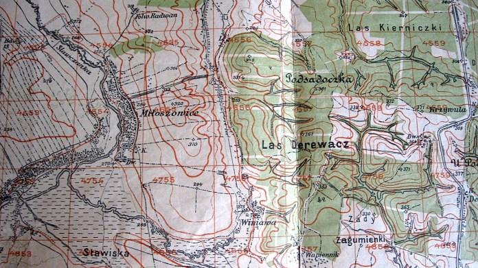 Фрагмент топографічної карти міжвоєнного періоду