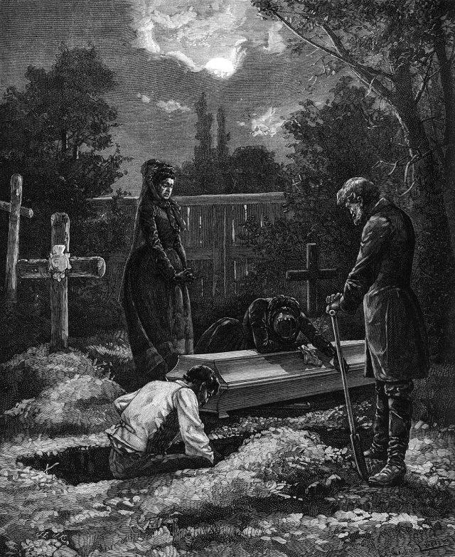 Чеслав Янковський. Похорон самогубця. Малюнок кінця ХІХ століття