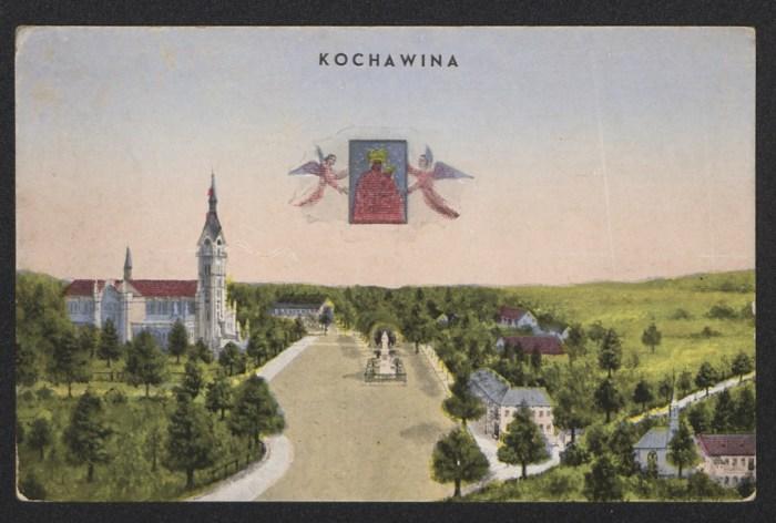 Зображення території монастиря в Кохавино уже без давнього костелу. Листівка міжвоєнного періоду