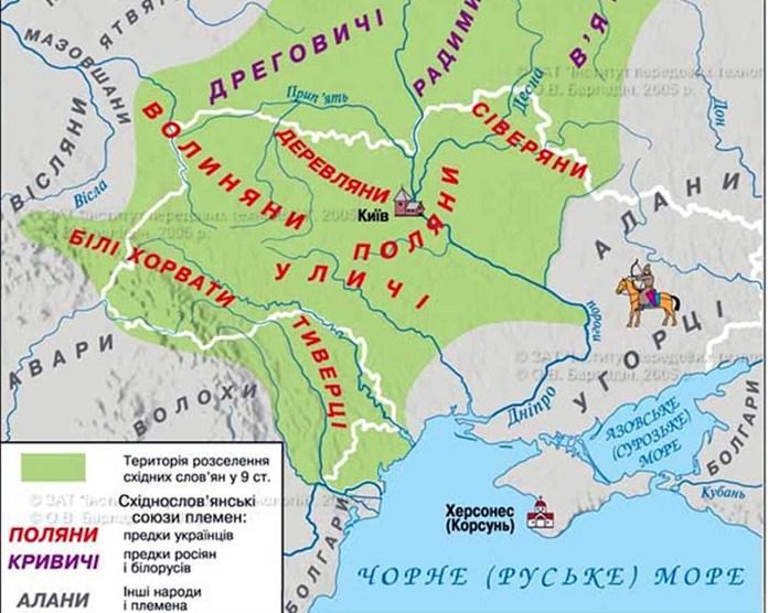 Мапа розселення літописних племен
