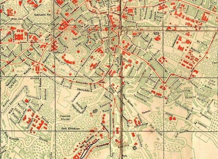Фрагмент карти Львова 1937 року (взято з http://alan.ucoz.lv/ja3w/Lw37/Lw37.htm)
