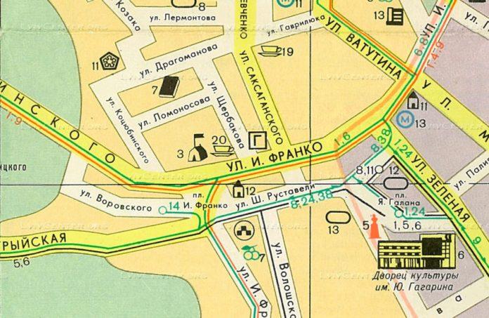 Фрагмент туристичної карти Львова 1977 року (взято з http://www.lvivcenter.org/ru/umd/map/?ci_mapid=82)