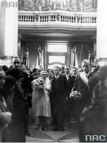 Срібний ювілей Генрика й Ірини Збєжховських та весілля їхньої дочки Ізабелли в костелі домініканців у Львові в 1929 році