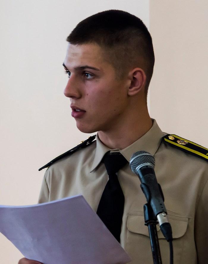 Актор театральної студії Університету безпеки життєдіяльності. Читання п'єси Баси Джанікашвілі. Фото: Ксенія Янко