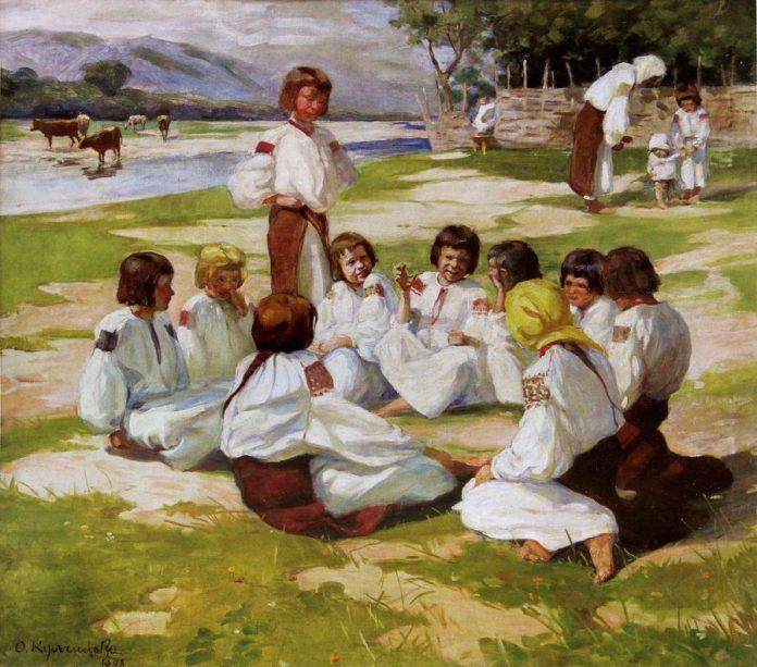 Олена Кульчицька. Діти на Леваді. Косів, 1908р.