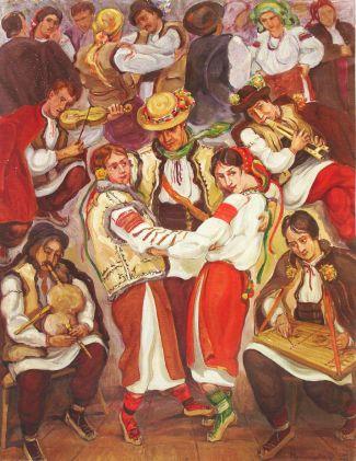 Олена Кульчицька. Гуцульське весілля, 1943р.