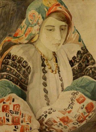 Олена Кульчицька. Портрет дівчини в українському вбранні. Папір, гуаш