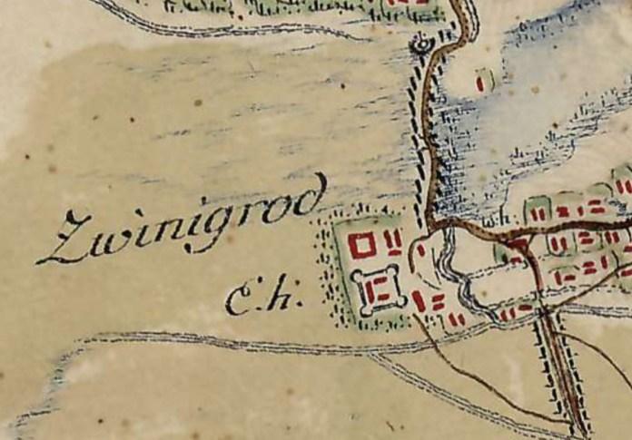 Звенигород на карті фон Міга 1782 року