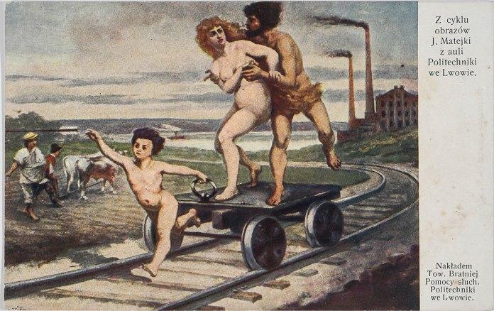 Одна з картин Яна Матейка «Винахід залізничного транспорту». Листівка 1910 року