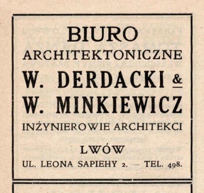 Реклама архітектурного бюро Вітольда Мінкевича та Владислава Дердацького, 1912 рік