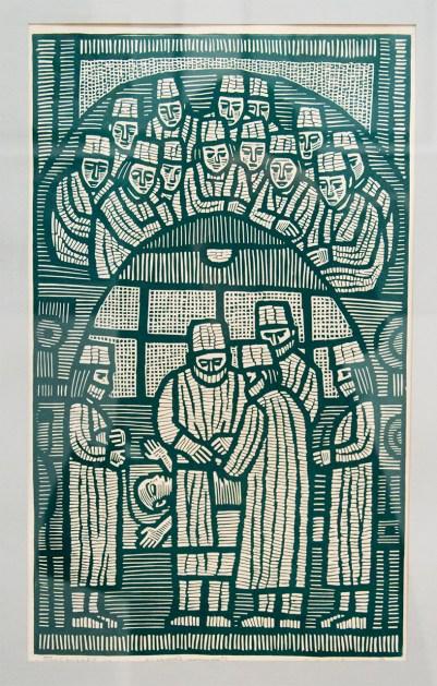 """Леопольд Левицький """"Порятунок"""" (папір, лінорит) 1960-і роки"""