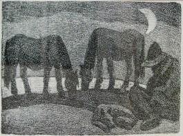 """Леопольд Левицький """"В нічному"""" (папір, літографія) 1970-і роки"""