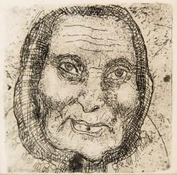 """Леопольд Левицький """"Бабуся"""" (папір, офорт, суха голка) 1932-1935"""