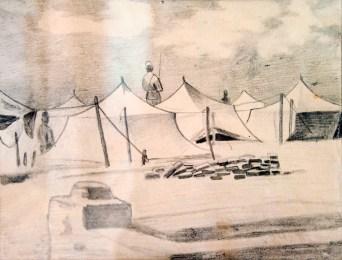 """Леопольд Левицький """"На варті"""" (папір, олівець) 1940-і роки"""