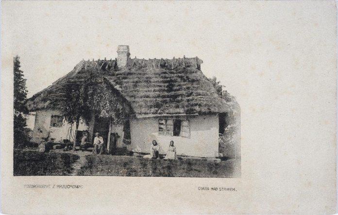 На фоні розкішних віл в Брюховичах були і звичайні сільські хати. Фото 1908 року