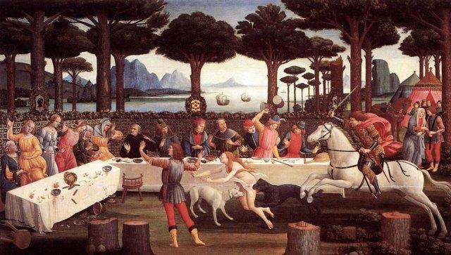 Гай піній під Равенною на картині Боттічеллі (бл. 1483 р.), що ілюструє третій епізод новели «Історія Настаджо дельї Онесті».