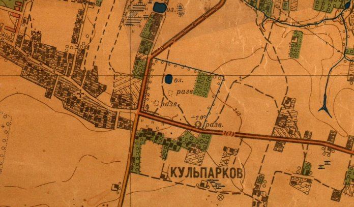 План Львова 1947 року, на котрому на місці 31 школи позначено озерце та руїни навколо нього