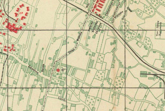 План Львова 1937 року, на котрому на місці 31 школи позначено сад з водоймою та забудовою