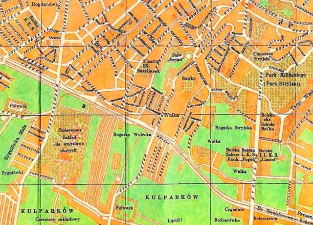 План Львова 1938 року, на котрому на місці 31 школи позначено фільварок