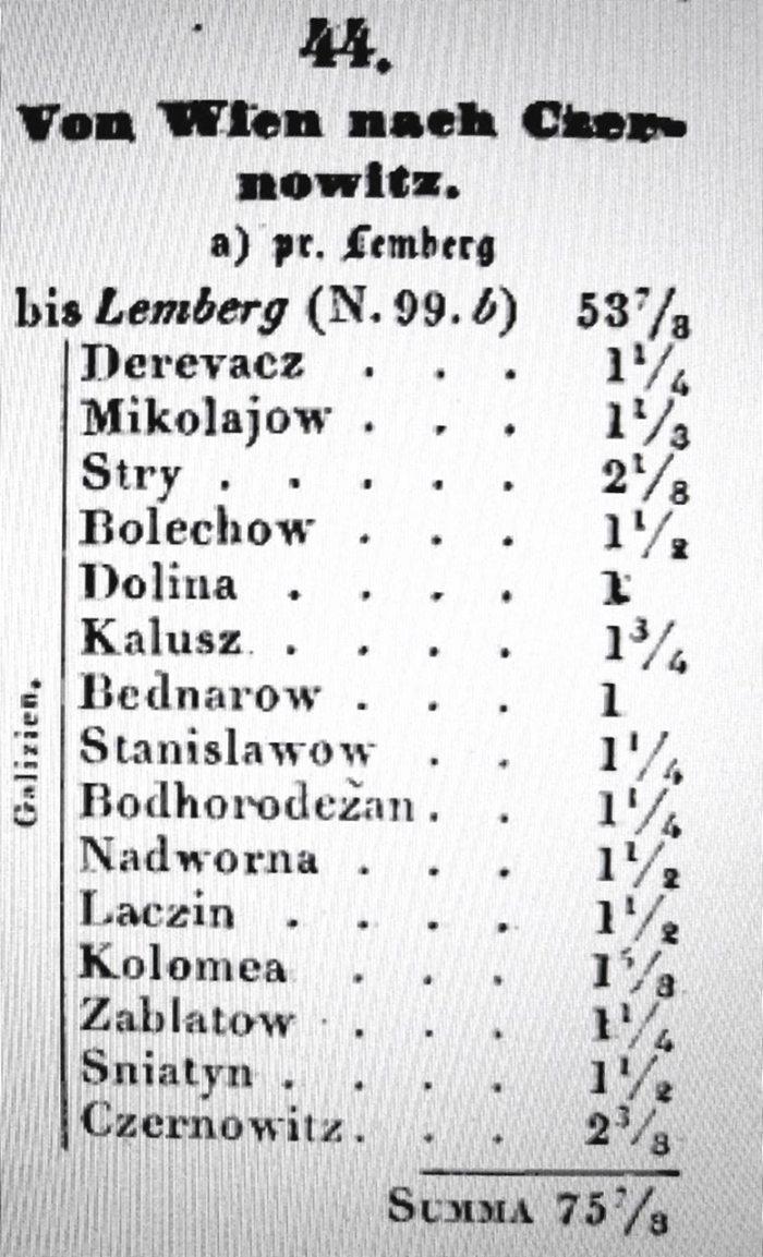 Перелік станцій поштових на відрізку шляху Львів - Чернівці (станом на 1839р)
