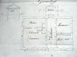 Схематичний план - креслення корчми у Хоросно Старому 18ст.
