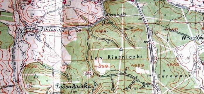 Ліс Кернички на топографічній карті
