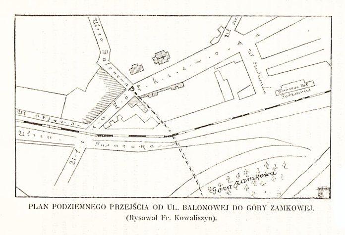 План підземний ходу з вул. Гайдамацької до Високого Замку. Рисунок Ф. Ковалишина