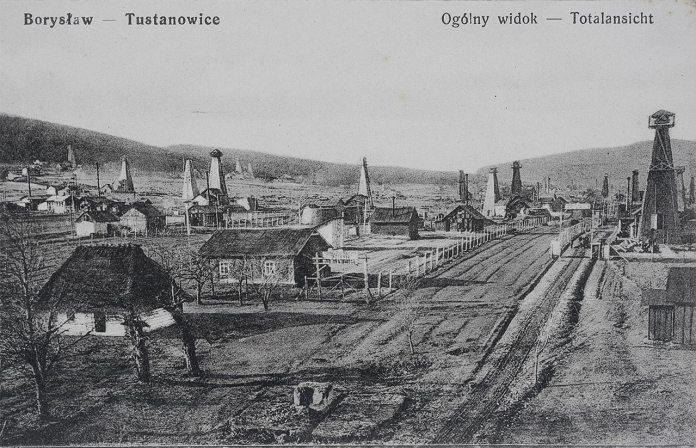 Нафтові вишки в Бориславі, поштівка 1915 року