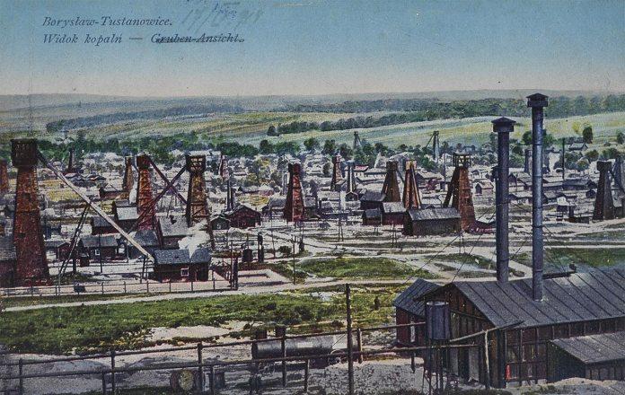 Нафтові вишки в Бориславі, поштівка 1914 року