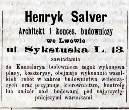 Оголошення Генрика Сальвера в газеті «Głos Wolny», 1893 р.