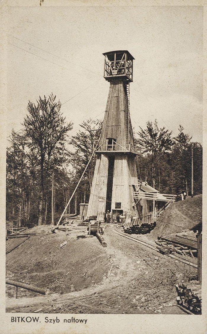 Битків. Нафтові вишки. Поштівка 1930 року.