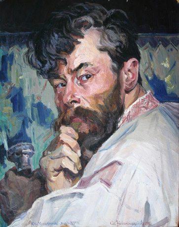 Олекса Новаківський. Автопортрет (із пензлем), 1911
