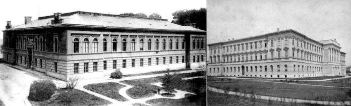 Хімічний корпус Львівської політехніки у ХІХ ст. (ліворуч) і головний корпус Львівської політехніки (близько 1880 р.)