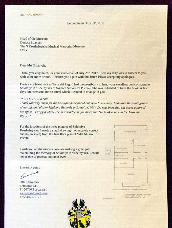 Лист фінського музикознавця Оллі Кауремаа, у якому подано інформацію від онучки Дж. Пуччіні Сімонетти Пуччіні про фотографії С. Крушельницької, що експонуються в музеї композитора в Торре дель Ляґо.