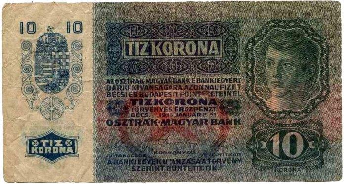 Купюра номіналом 10 крон, 1915 рік, Австрія