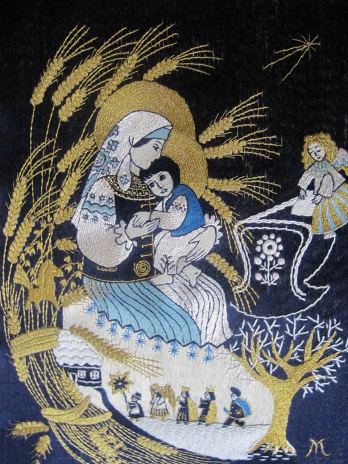 Робота Марти Кулинич-Новицької Лемківське-Різдво з серії Лемківська Мадонна за авторською іконою Марії Янко
