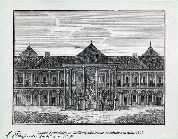 Замок Собеського в Жовкві від сторони двору в 1847 році