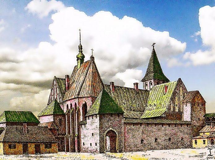 Низький замок на панорамі І. Качора. Фото з https://uk.wikipedia.org
