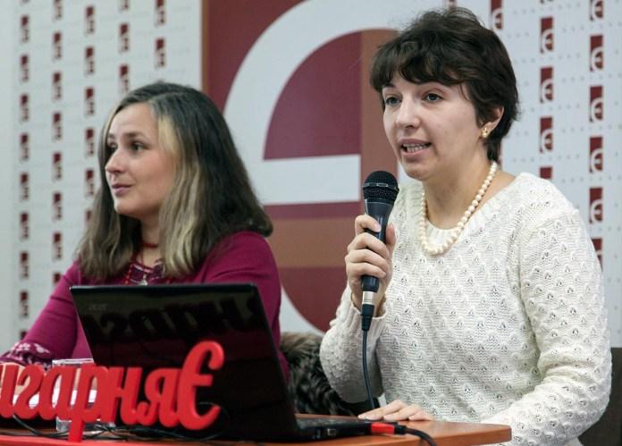 Іванна Гонак та Ксенія Бородін під час лекції