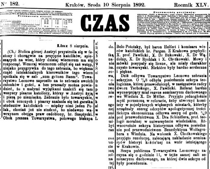 Повідомлення у пресі про католицький з'їзд у австрійському місті Лінц. Серед гостей з'їзду, преса одного з перших називає Казимира графа Шептицького.