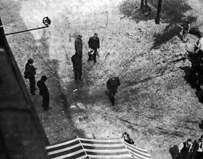 Місце загибелі Коновальця на вул. Колсінгель в Роттердамі. Бомба розірвала тіло Провідника на шматки, поранивши при цьому двох перехожих, з яких один перебував на відстані 5 м від жертви.