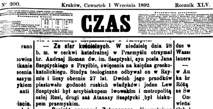 Повідомлення у пресі про те, що Роман граф Шептицький отримав священичі свячення 28 серпня 1892 року з рук перемишльського єпископа Юліана Переша.