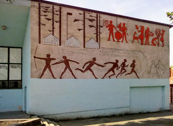 Мозаїка в Луцьку на вулиці Богдана Хмельницького. Віктор Шингур, 1960-ті