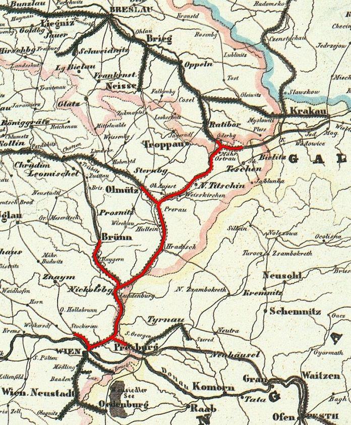 Схема Північної залізниці імені цісаря Фердинанда (1849)